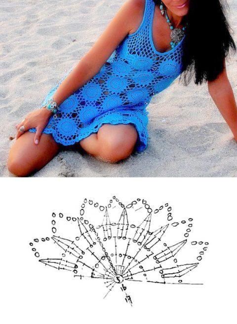 Синий пляжный сарафан крючком для женщин