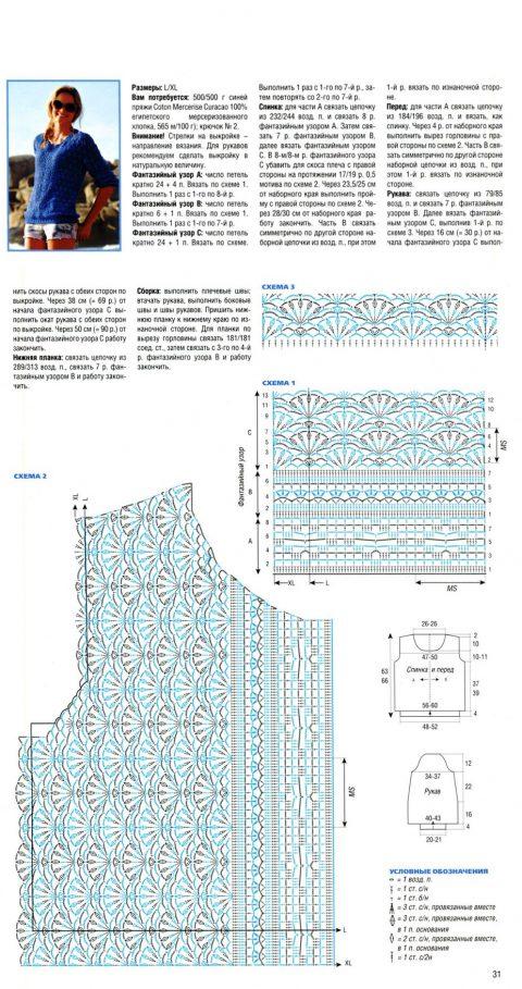 схема и описание синего ажурного пуловера