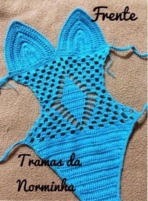 Голубой купальник для девочки крючком