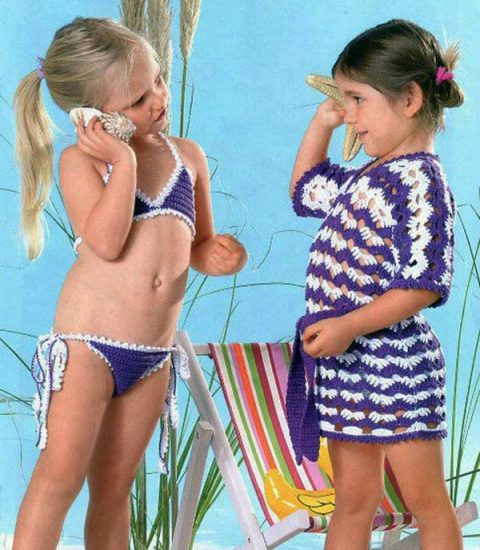 Лиловый купальник крючком для девочки и туника