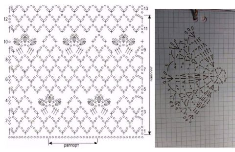 схема платья ажурного, связанного крючком