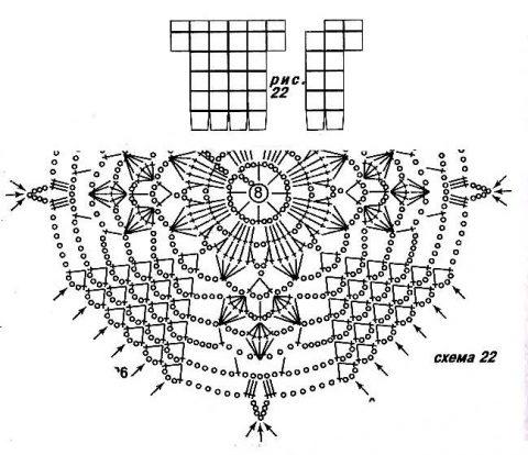 Схема ажурного мотива для кардигана крючком