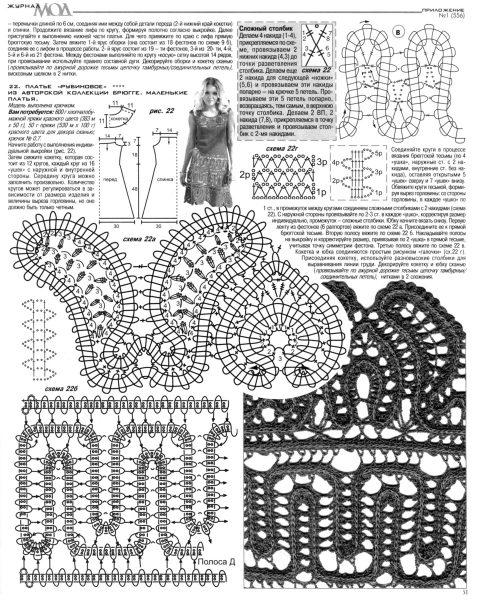 Сарафан в технике брюггское кружево, описание и схемы вязания