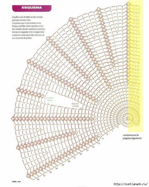 схема оригинального ажурного жилета крючком