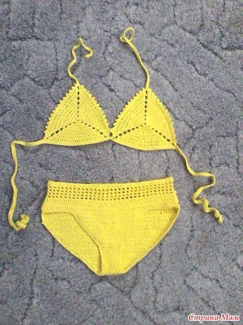 Желтый купальник крючком для девочки отmama-anastasia