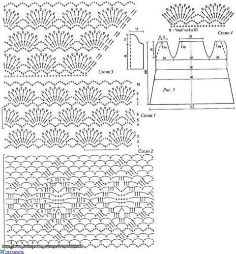 схема кардигана ажурного, связанного крючком