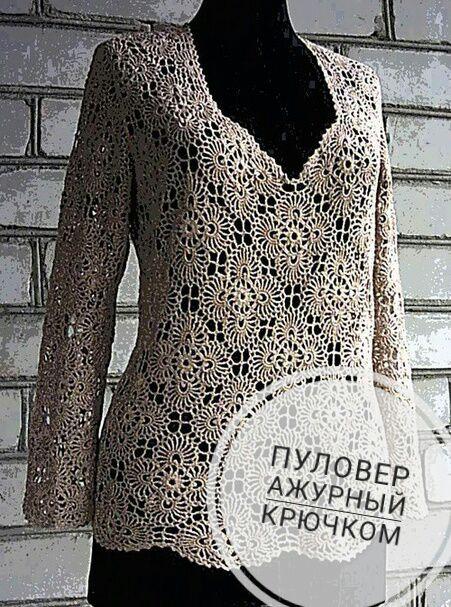Вязание ажурного пуловера, идеи и схемы