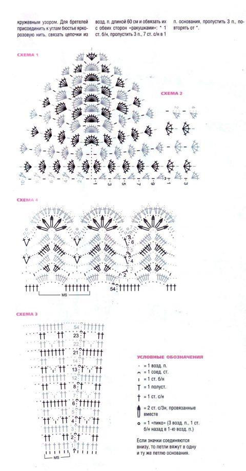 Описание и схемы вязания сарафана крючком