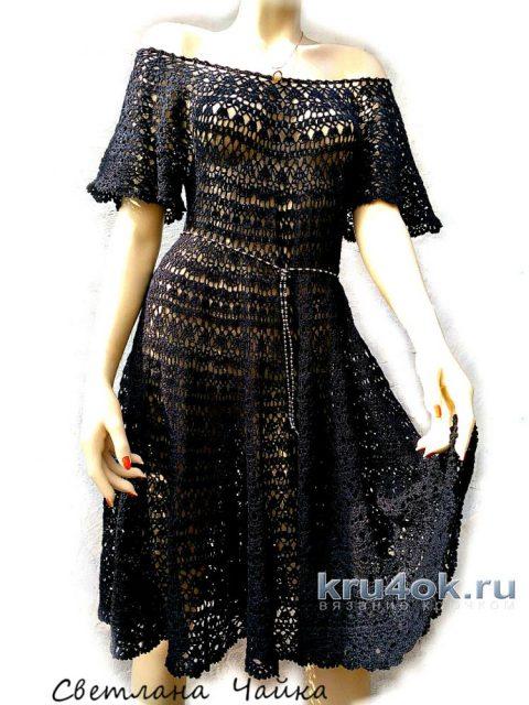 Ажурное платье Южная ночь, связано крючком