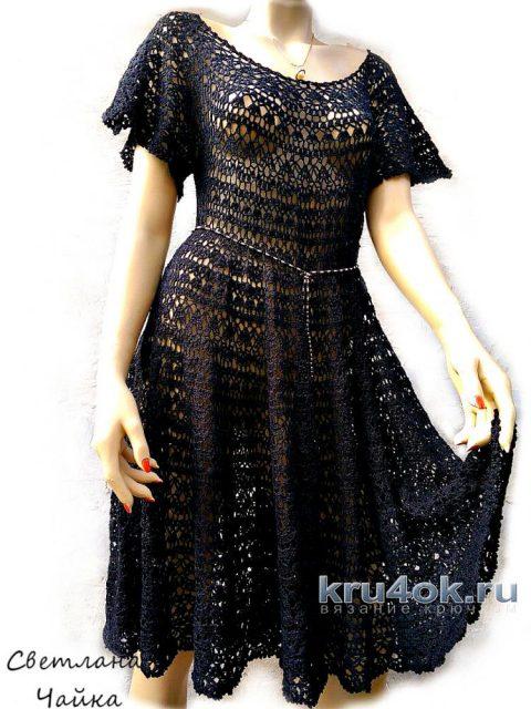 Ажурное платье Звездная ночь. Работа Светланы Чайка вязание и схемы вязания