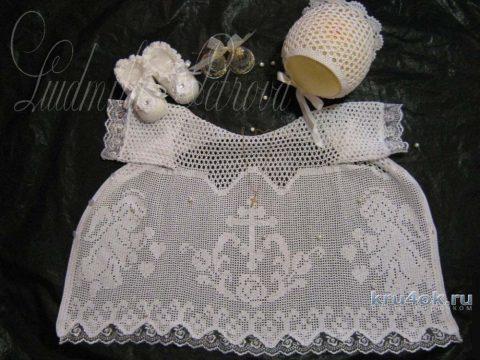 Крестильная рубашка. Работа Людмилы Петровой вязание и схемы вязания