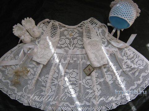 Крестильное платье крючком. Работа Людмилы Петровой вязание и схемы вязания