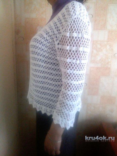 Летняя кофточка крючком. Работа Ларисы Брыляковой вязание и схемы вязания