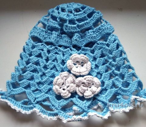 Летняя панамка для девочки крючком. Работа Кристины Филиной вязание и схемы вязания