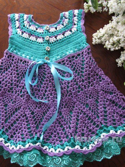 Платье для девочки Сирень. Работа Наталии Левиной вязание и схемы вязания