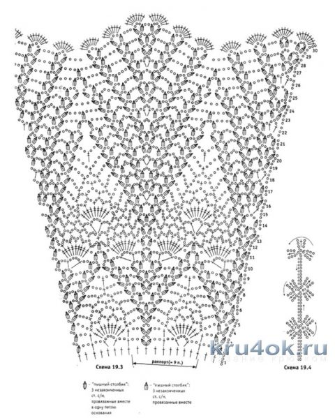 Схемы вязания платья с узором ананас крючком