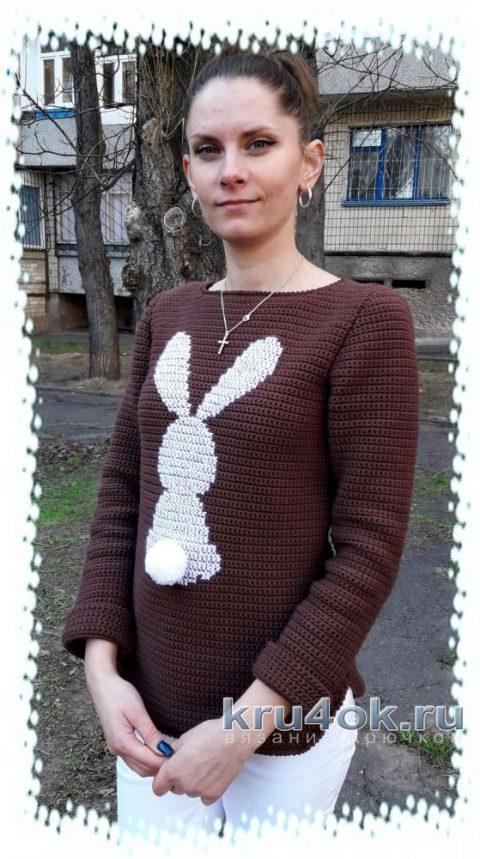 Пуловер крючком Стеснительный зайчик. Работа Евгении Руденко вязание и схемы вязания