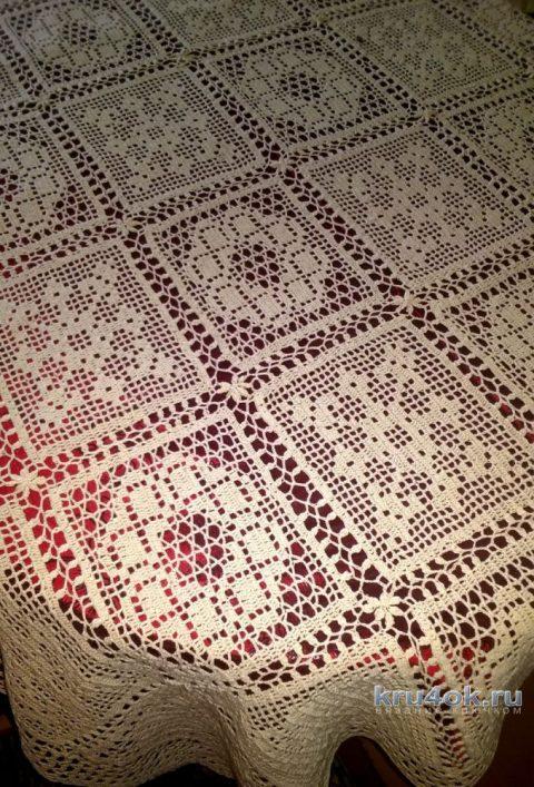 Скатерть на обеденный стол крючком. Работа Елены Шевчук вязание и схемы вязания