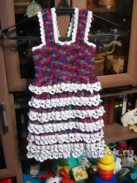 Теплый сарафан для девочки. Работа Дроздовой Надежды вязание и схемы вязания