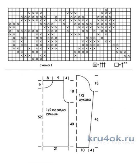 Вязаная крючком рубашка в филейной технике вязание и схемы вязания
