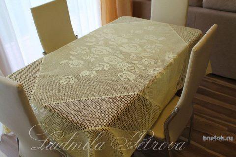 Вязаная крючком скатерть Чайная роза вязание и схемы вязания