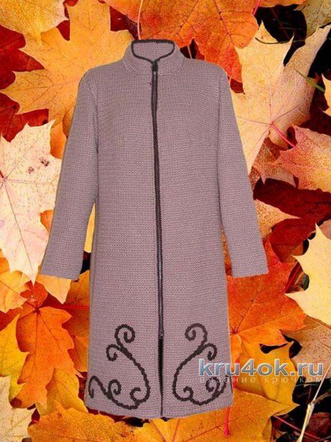 Женское пальто крючком. Работа Людмилы Петровой вязание и схемы вязания