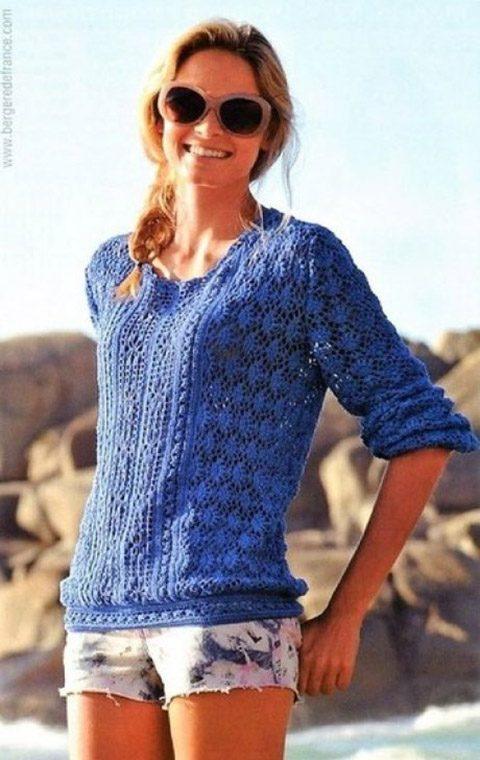 Синий ажурный пуловер