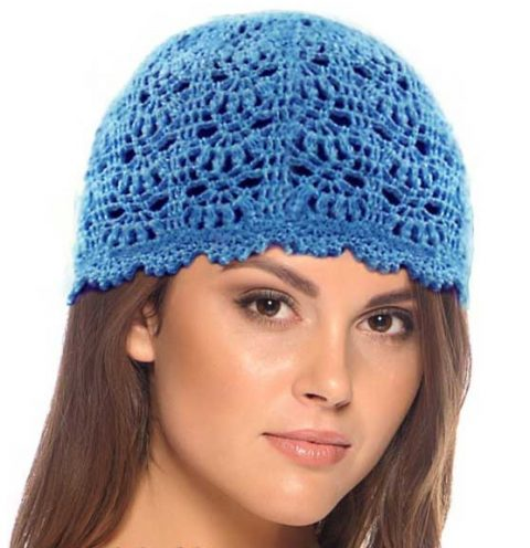 Летняя шапочка крючком, голубая