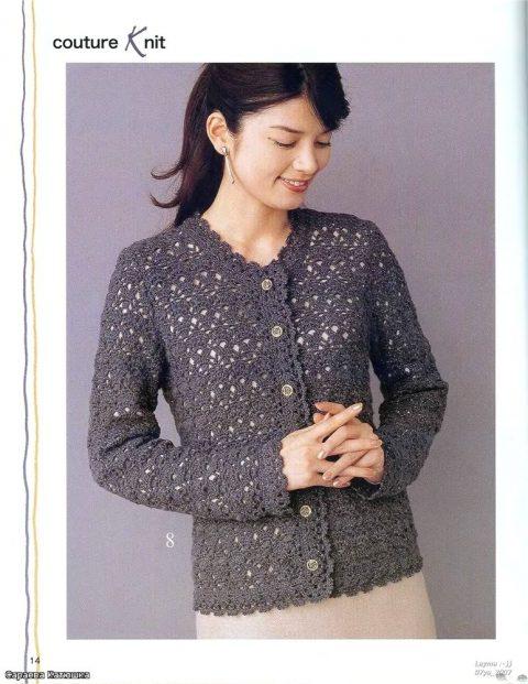 серая ажурная кофта из азиатского журнала