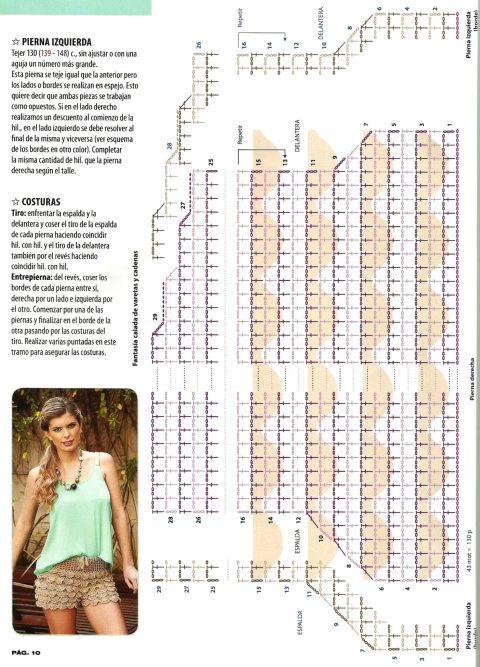 схема вязания шорт с оборочками
