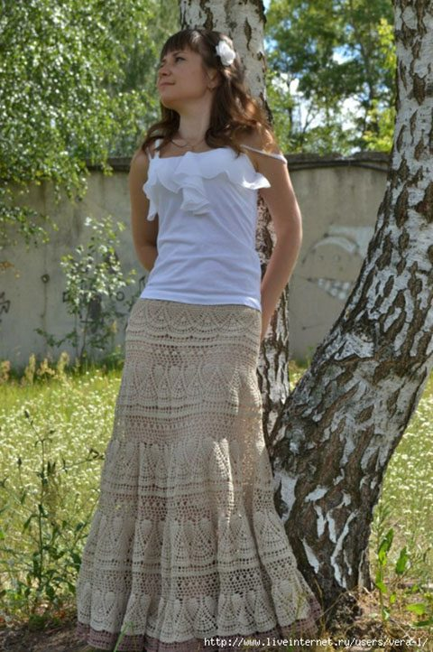 Шикарная длинная юбка ярусами, вязаная крючком
