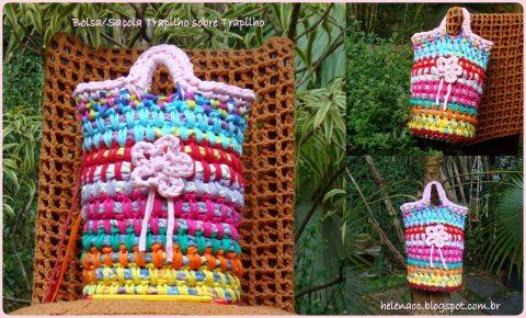 Разноцветная трикотажная сумка - торба крючком
