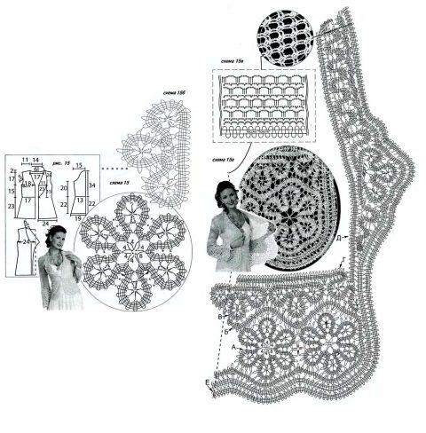 схемы вязания жакета в технике брюггское кружево