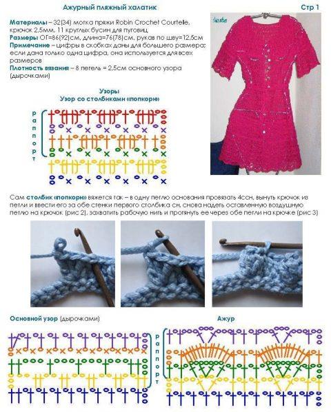 схема вязания пляжного халата