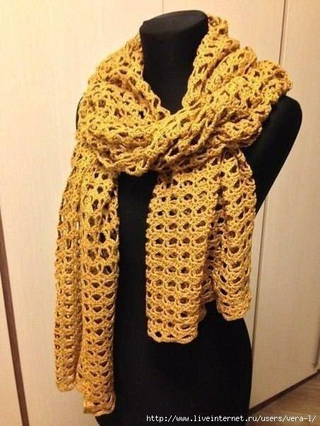 горчичный ажурный шарф
