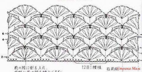 схема пуловера из ажурных вееров крючком