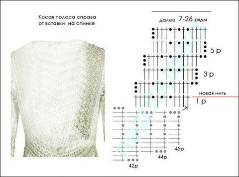 схема вязания ажурного кардигана крючком от Гаучо