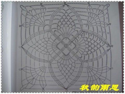 схема вязания крюком мотива ананасы