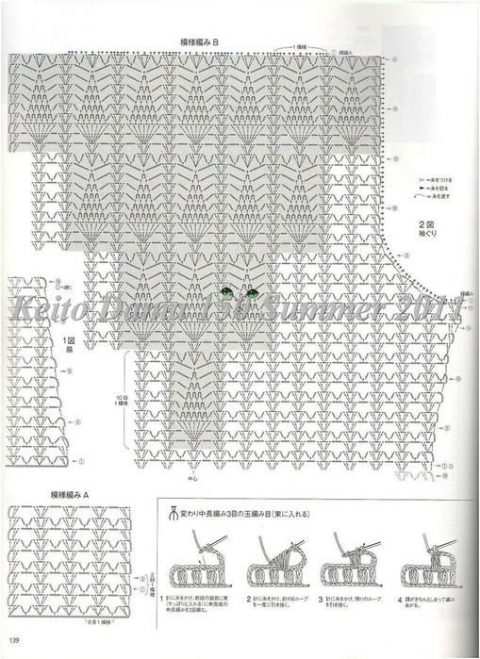 схема вязания крючком топика с ананасами от Keito Dama