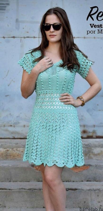 Нежное ажурное платье крючком