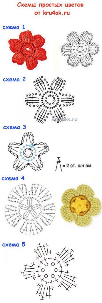 Пять схем простых цветов крючком