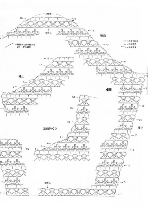 схема вязания бежевой ажурной кофты