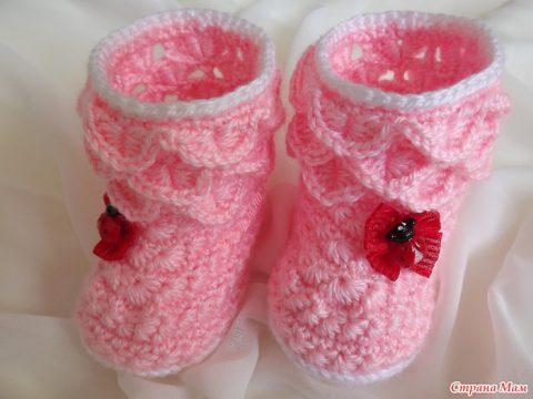 Детские ботиночки крючком для новорожденных