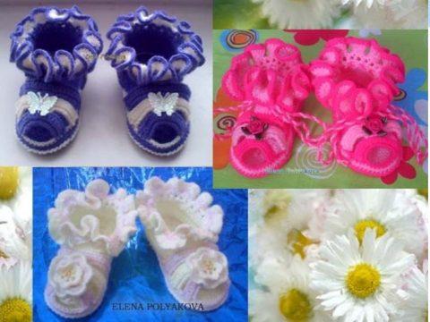 Пинетки - сандалики крючком для новорожденных