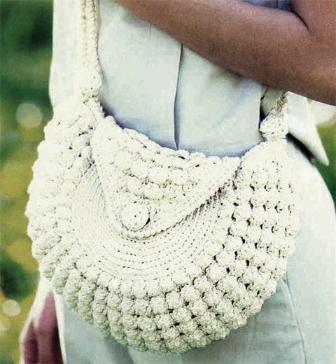 Полу - круглая сумка крючком
