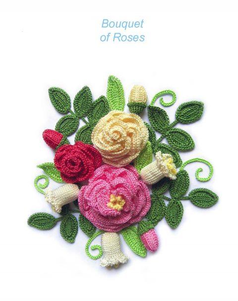 букет цветов с розами крючком