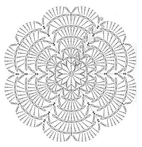 Многослойная роза, схемы вязания крючком