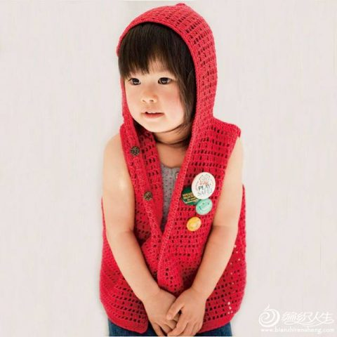 Схема безрукавки детской с капюшоном