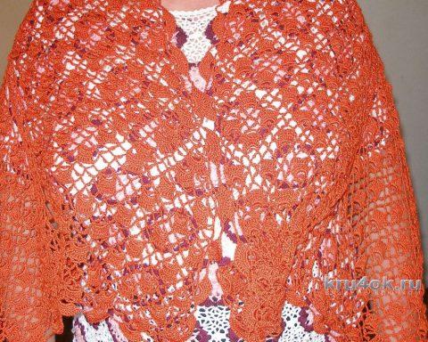 Ажурный палантин крючком. Работа Елены вязание и схемы вязания