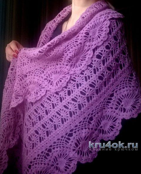 Ажурный палантин крючком. Работа Елены Шевчук вязание и схемы вязания